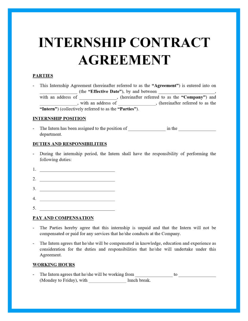 internship contract template page 1