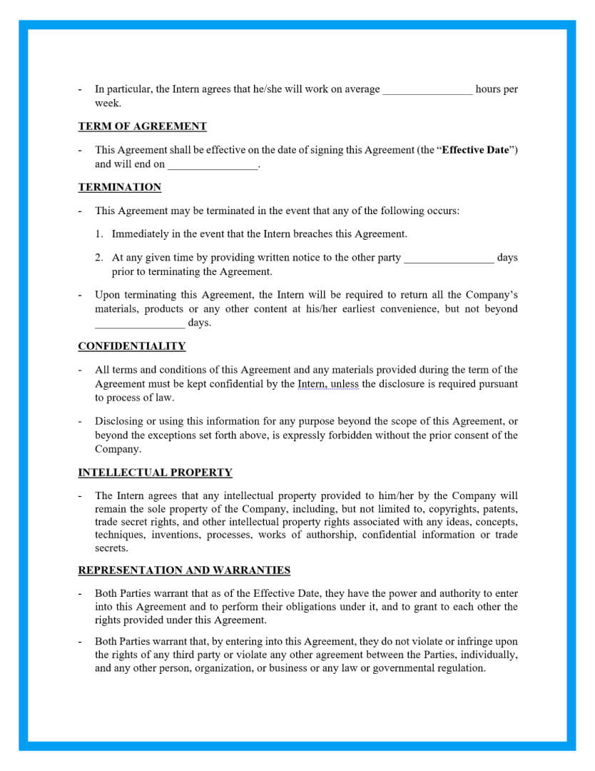 internship contract template page 2