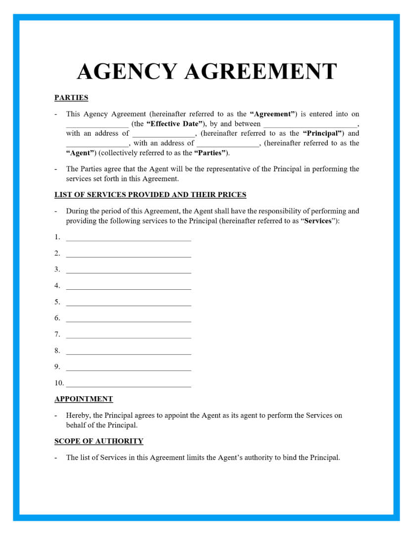 agency agreement template page 1