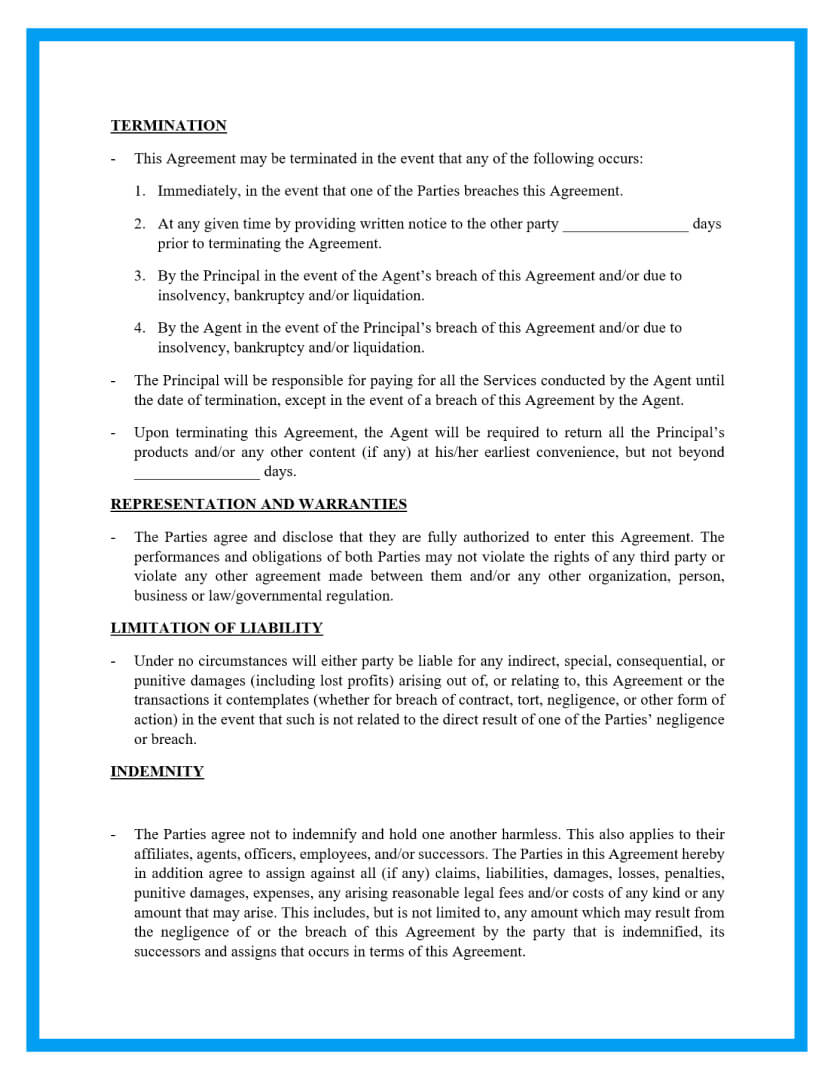 agency agreement template page 3