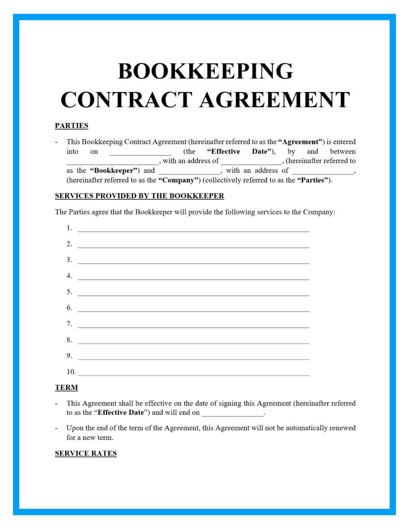 bookkeeping contract agreement template page 1