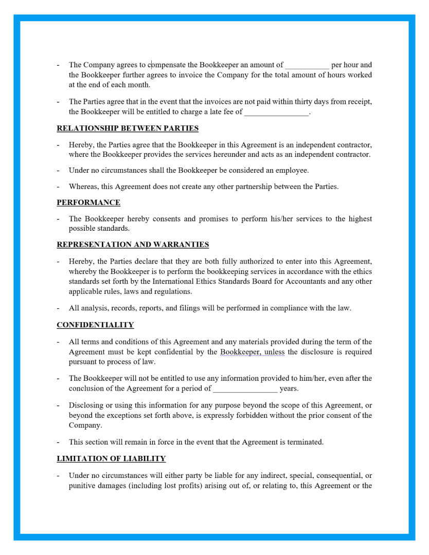bookkeeping contract agreement template page 2