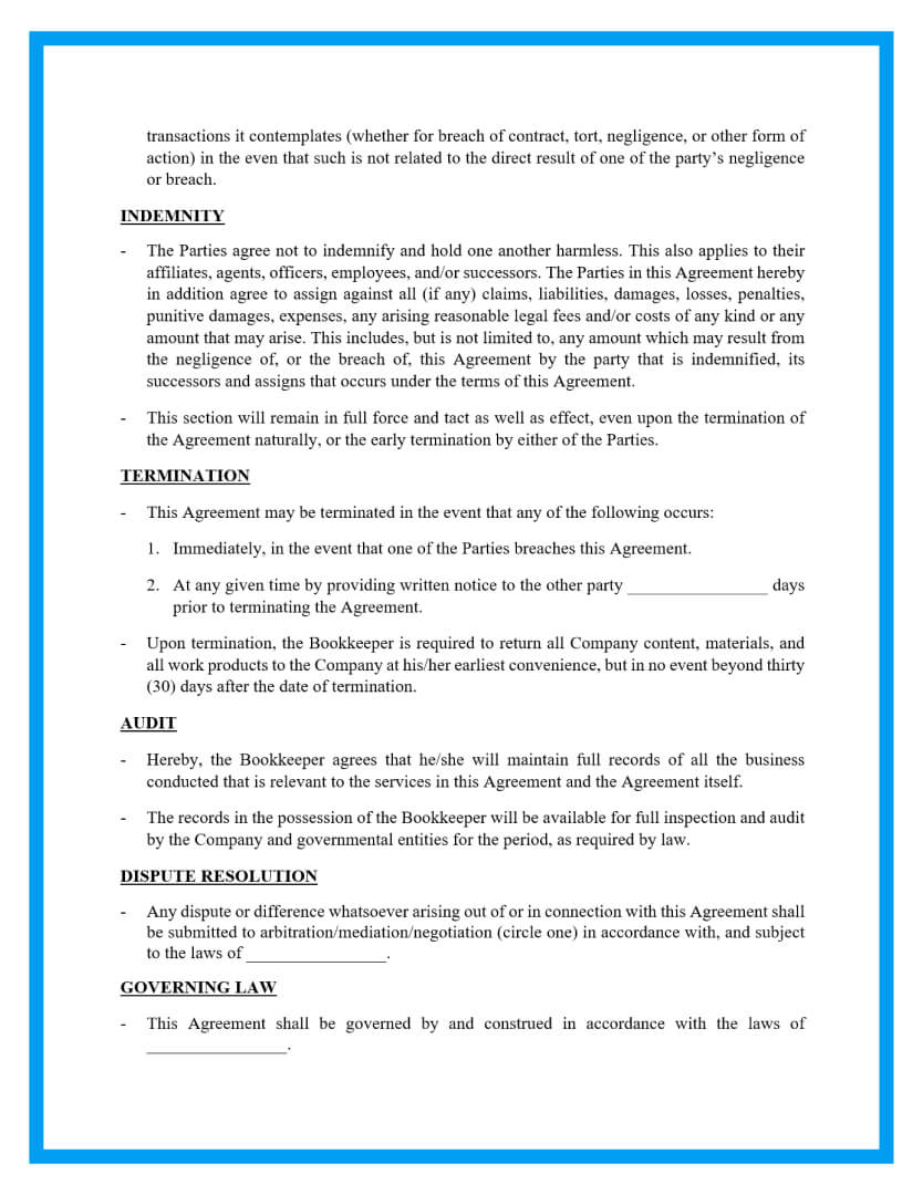 bookkeeping contract agreement template page 3