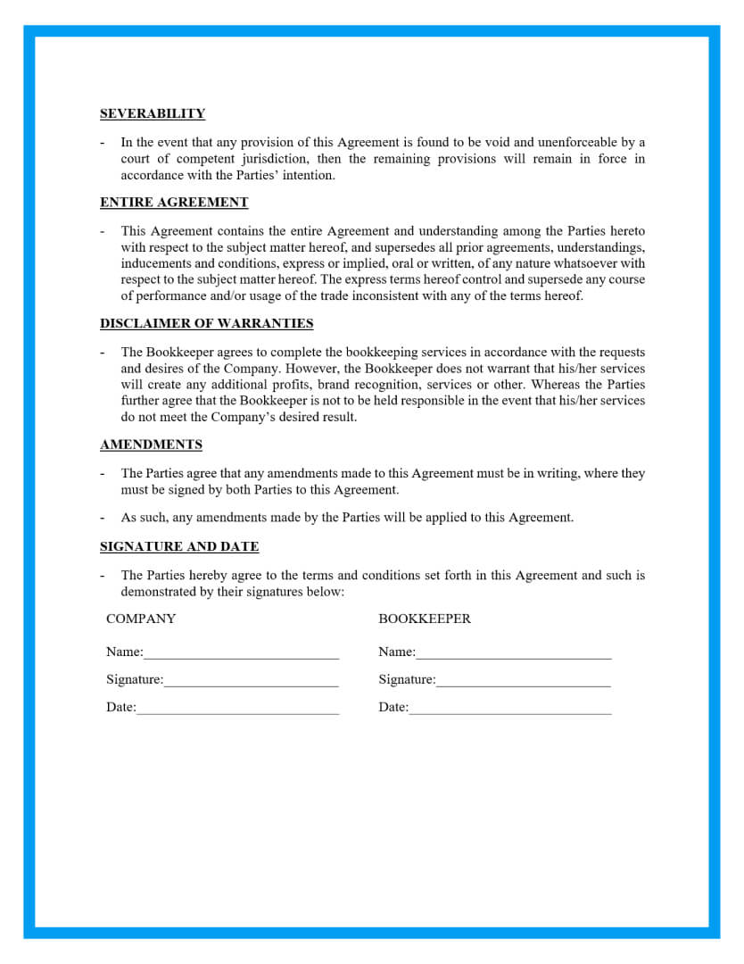 bookkeeping contract agreement template page 4