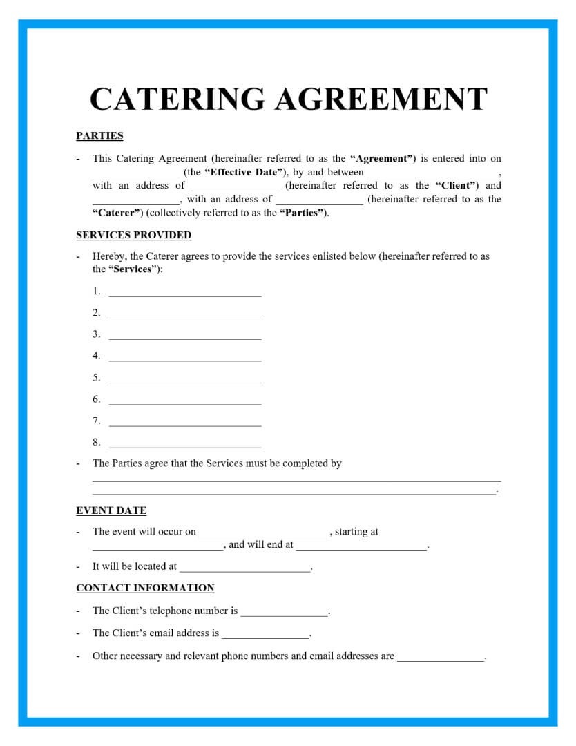 catering agreement template page 1