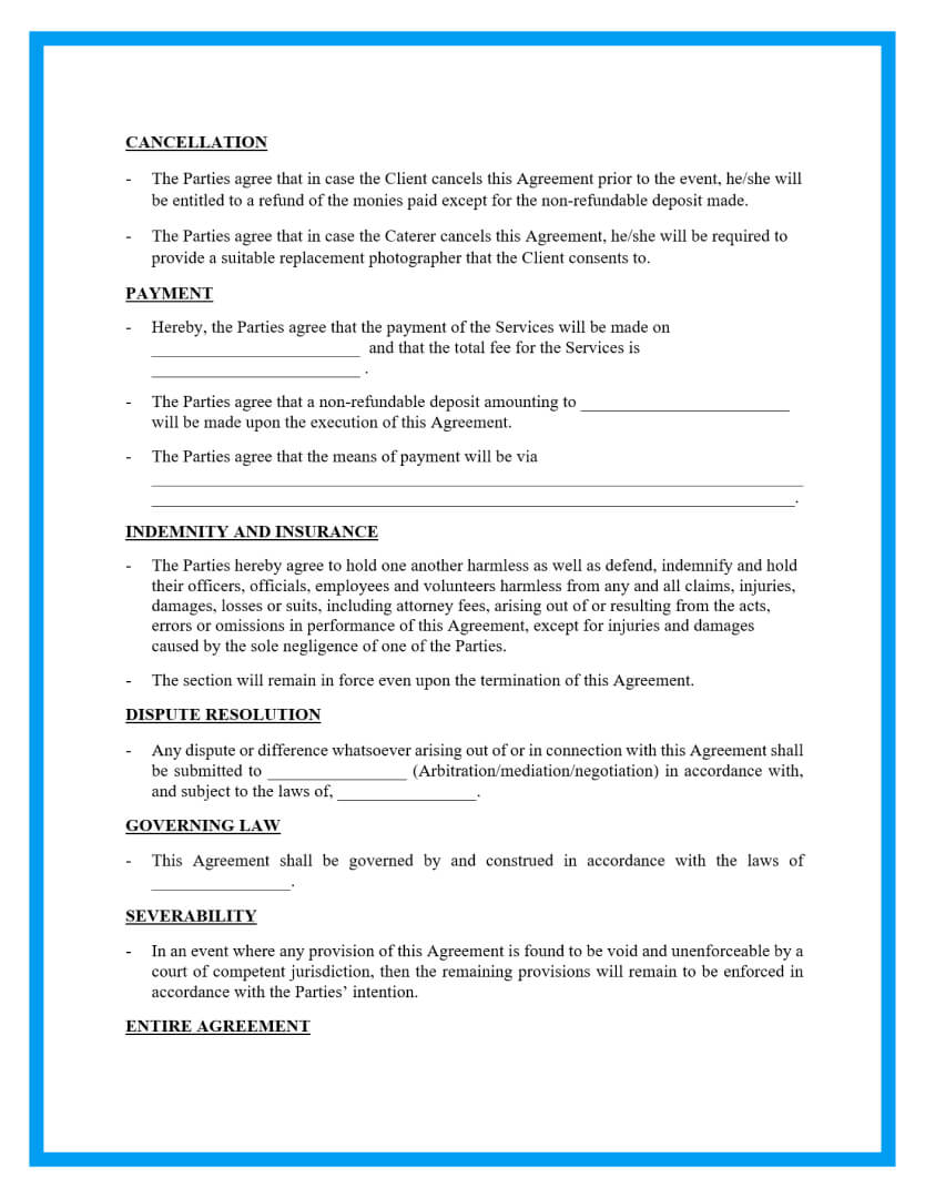 catering agreement template page 2