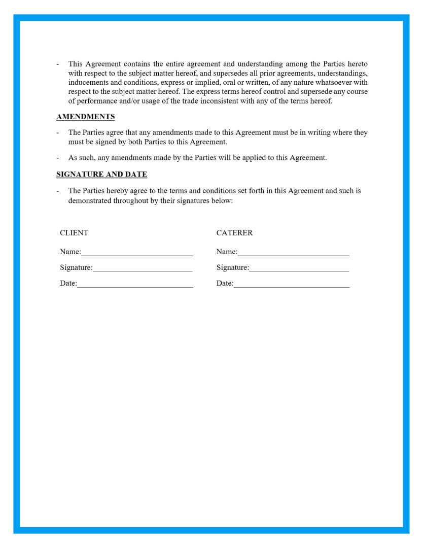 catering agreement template page 3