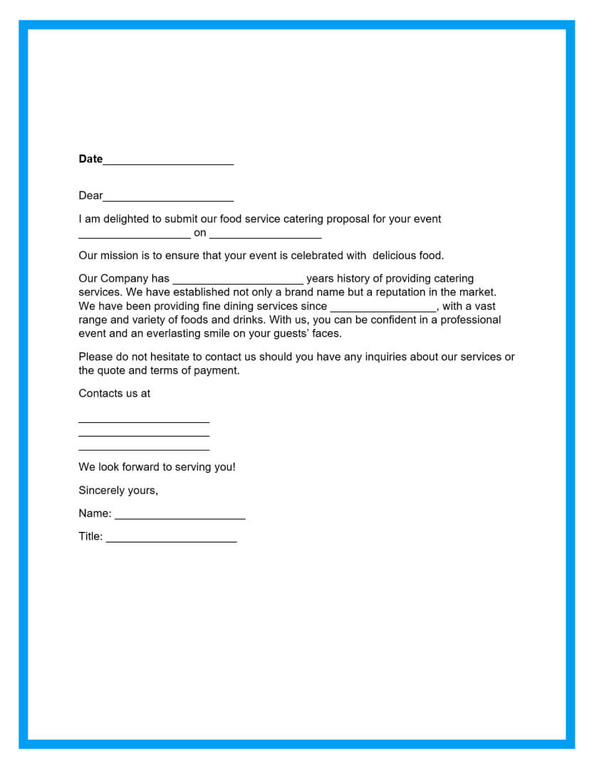 catering proposal template page 2