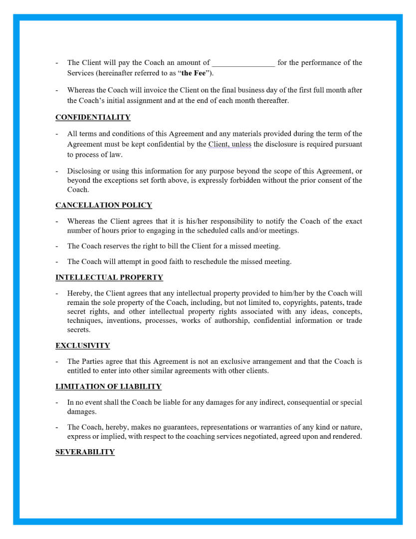 coaching agreement template page 2