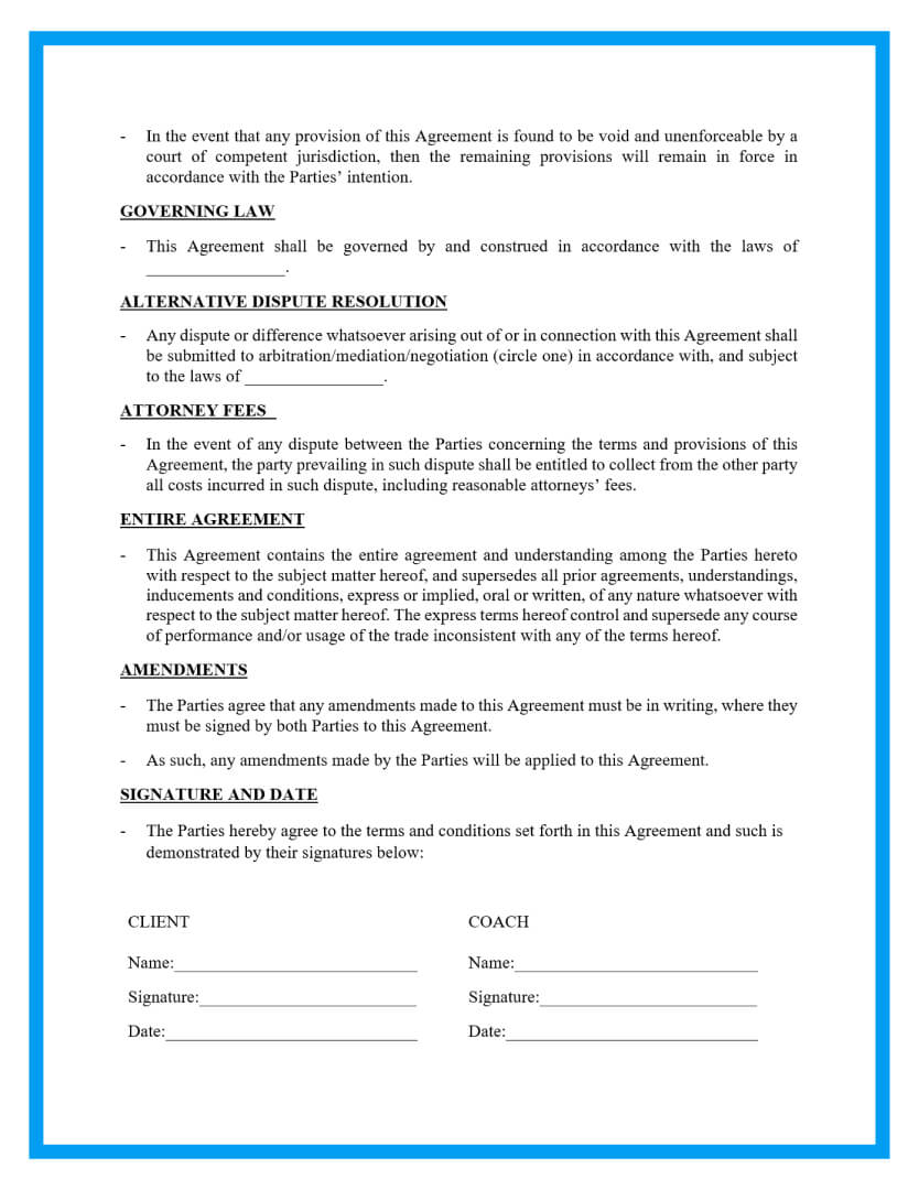 coaching agreement template page 3
