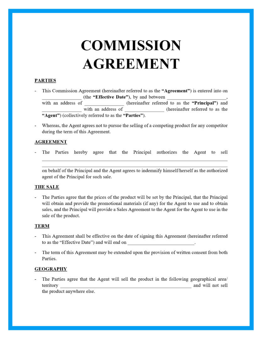 commission agreement template page 1