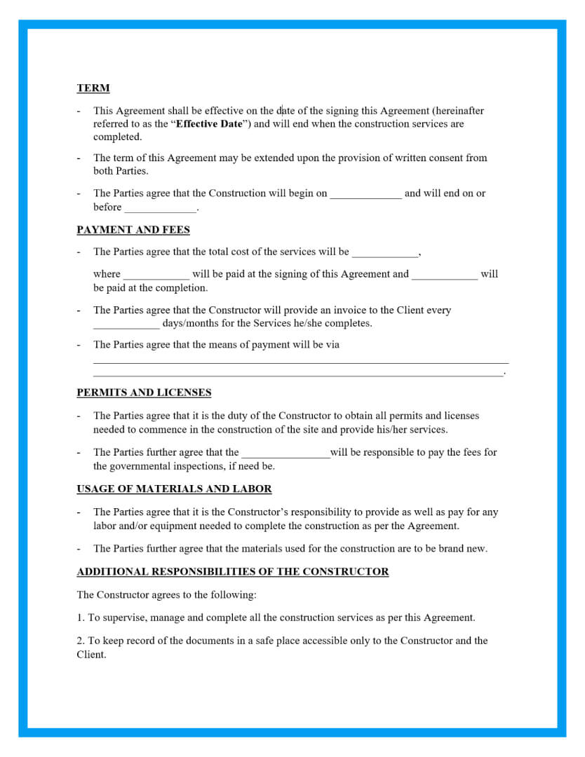 construction contract agreement template page 2