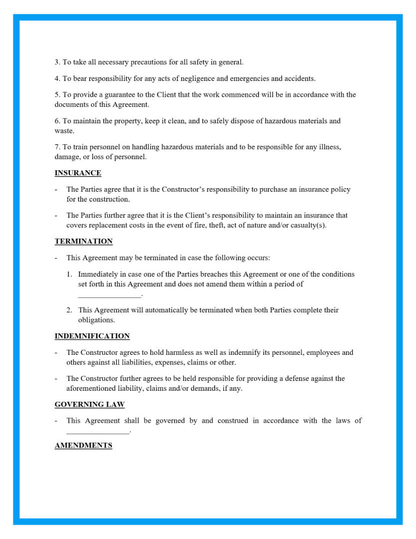construction contract agreement template page 3