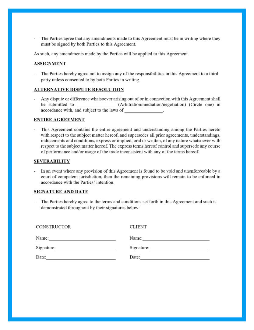 construction contract agreement template page 4