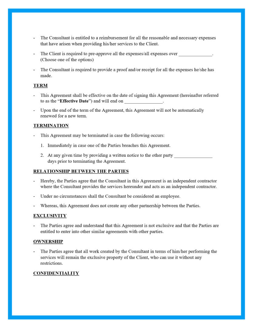 consulting agreement template page 2