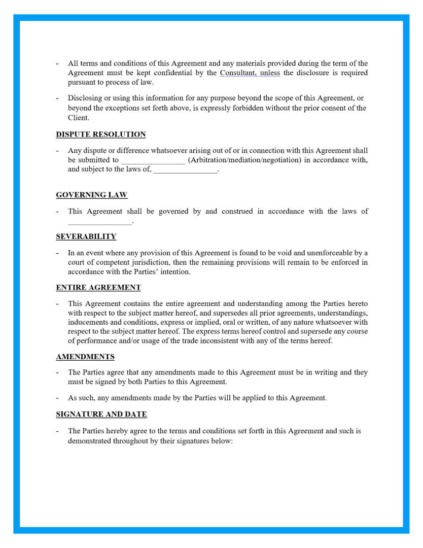 consulting agreement template page 3