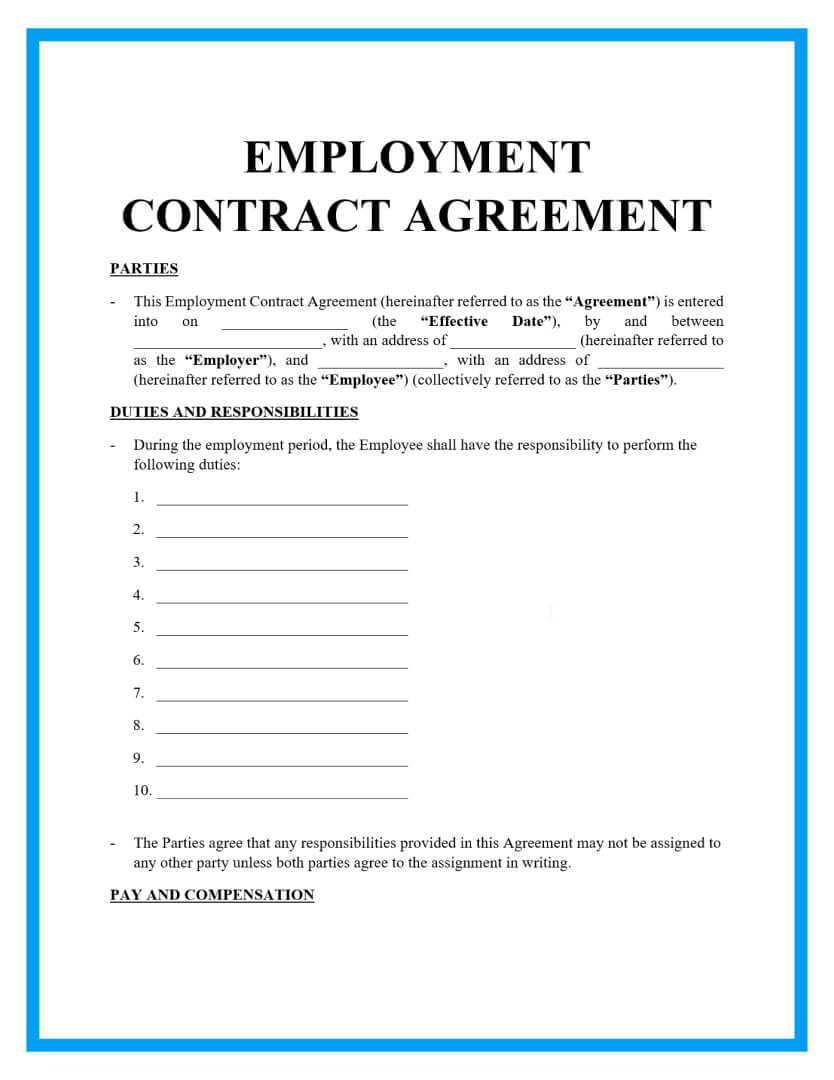 employment contract agreement template page 1