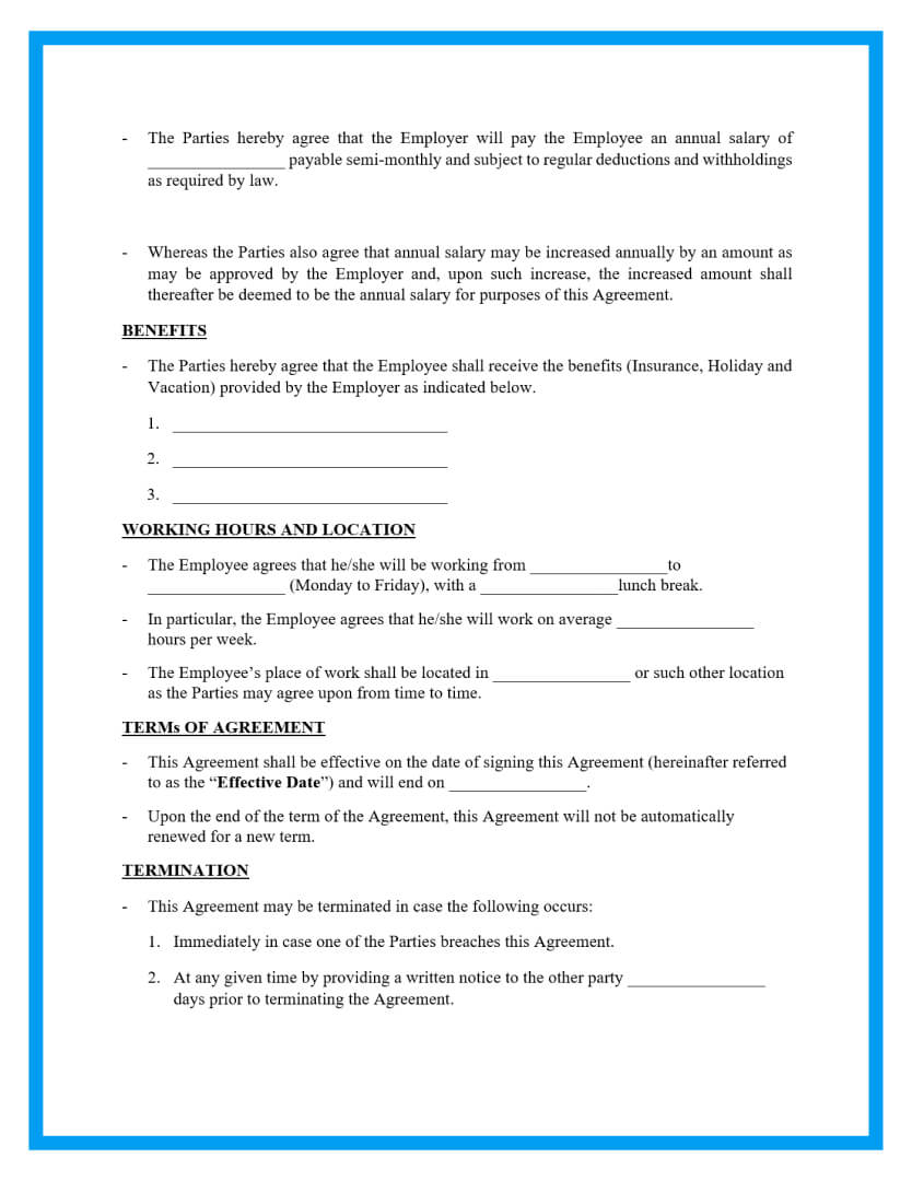 employment contract agreement template page 2