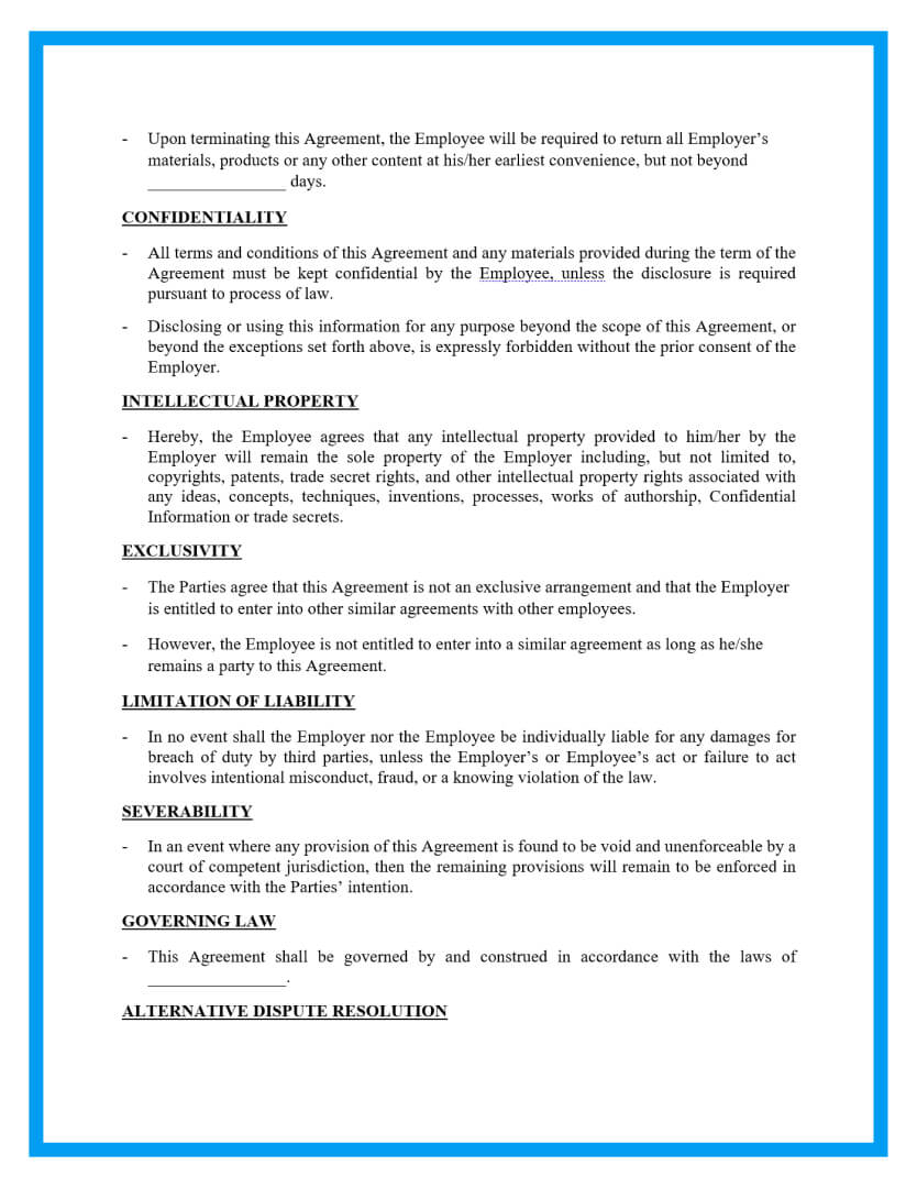 employment contract agreement template page 3