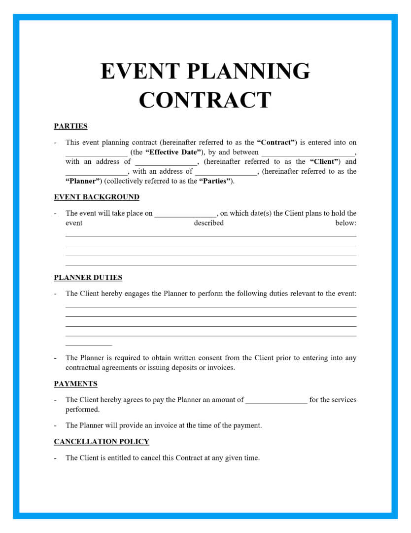 event planning contract template page 1