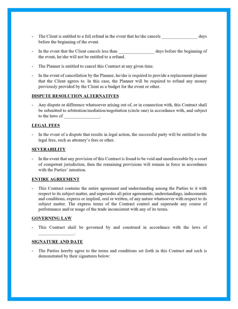 event planning contract template page 2