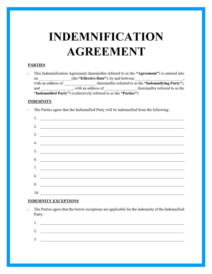 indemnification agreement template page 1