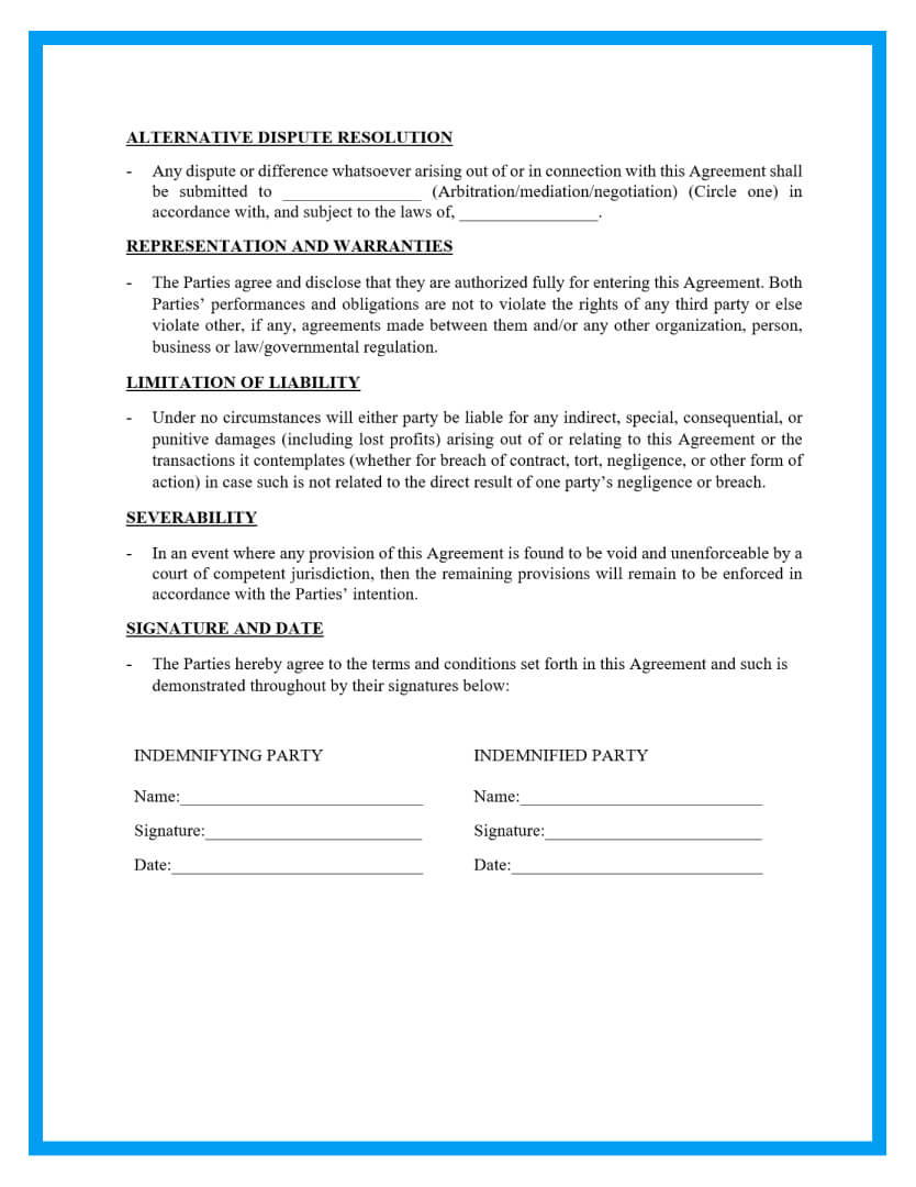 indemnification agreement template page 3