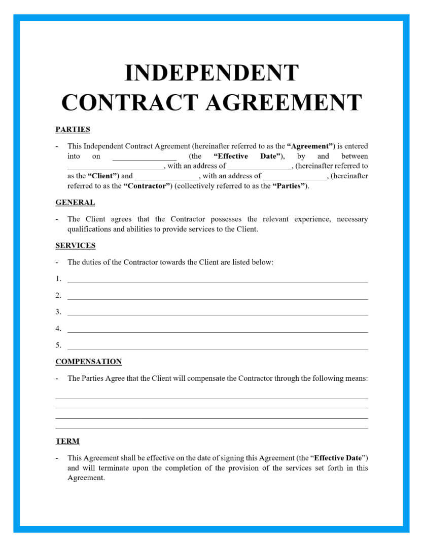 independent contractor agreement template page 1