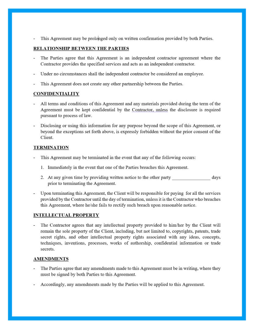 independent contractor agreement template page 2