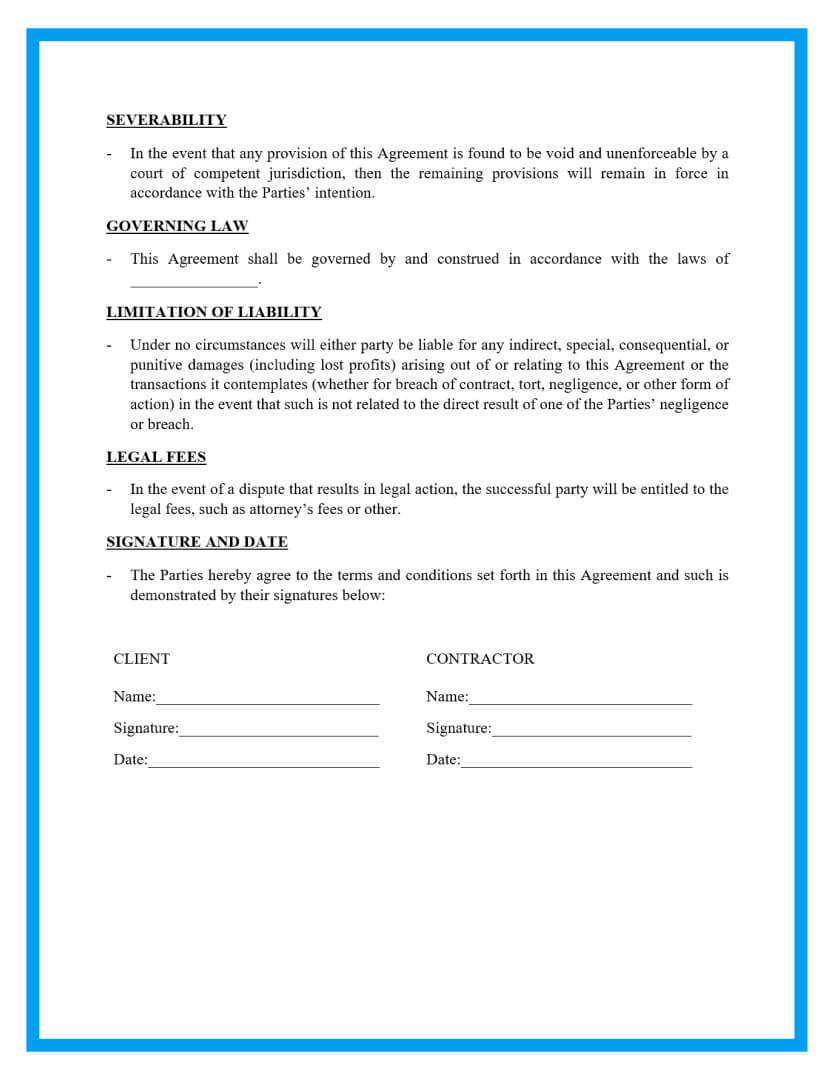 independent contractor agreement template page 3