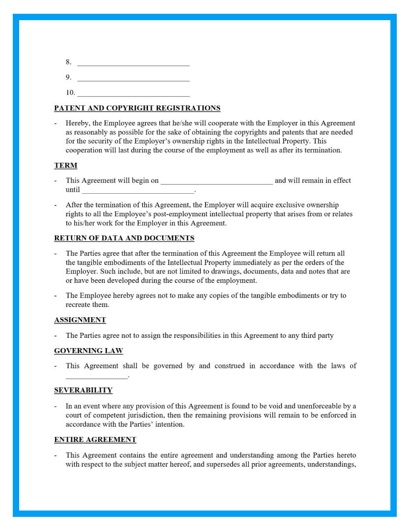 intellectual property agreement template page 2
