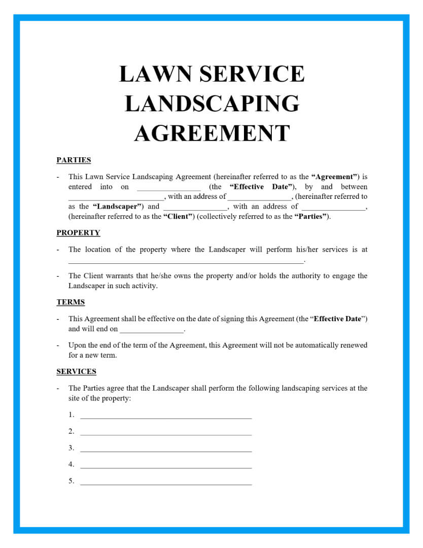 lawn service landscaping agreement template page 1