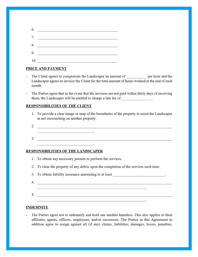 lawn service landscaping agreement template page 2