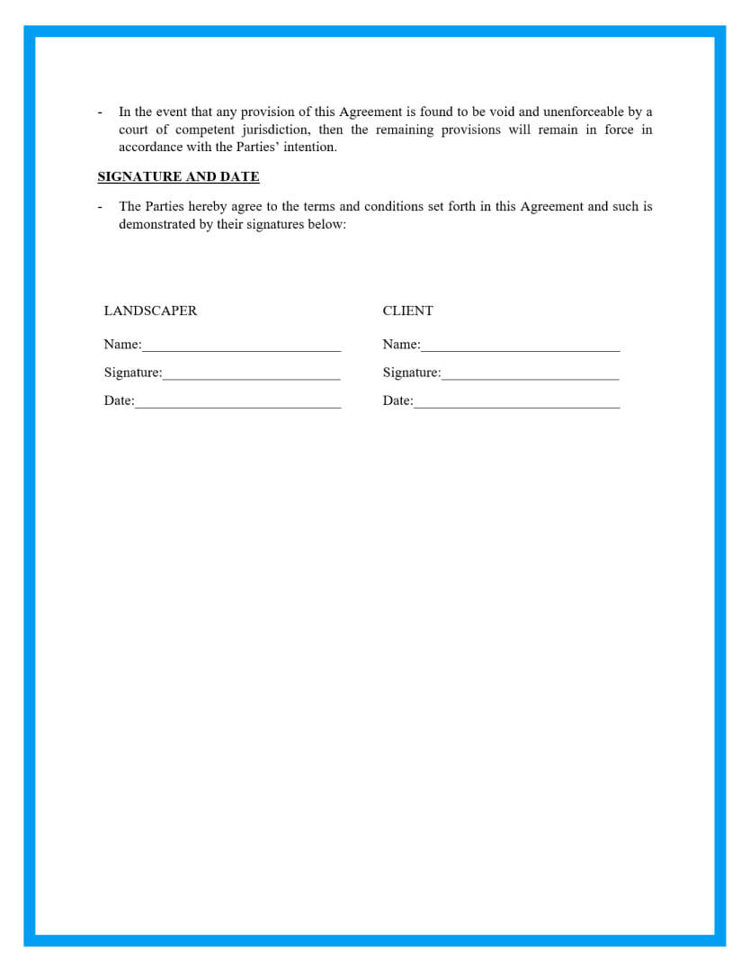 lawn service landscaping agreement template page 4