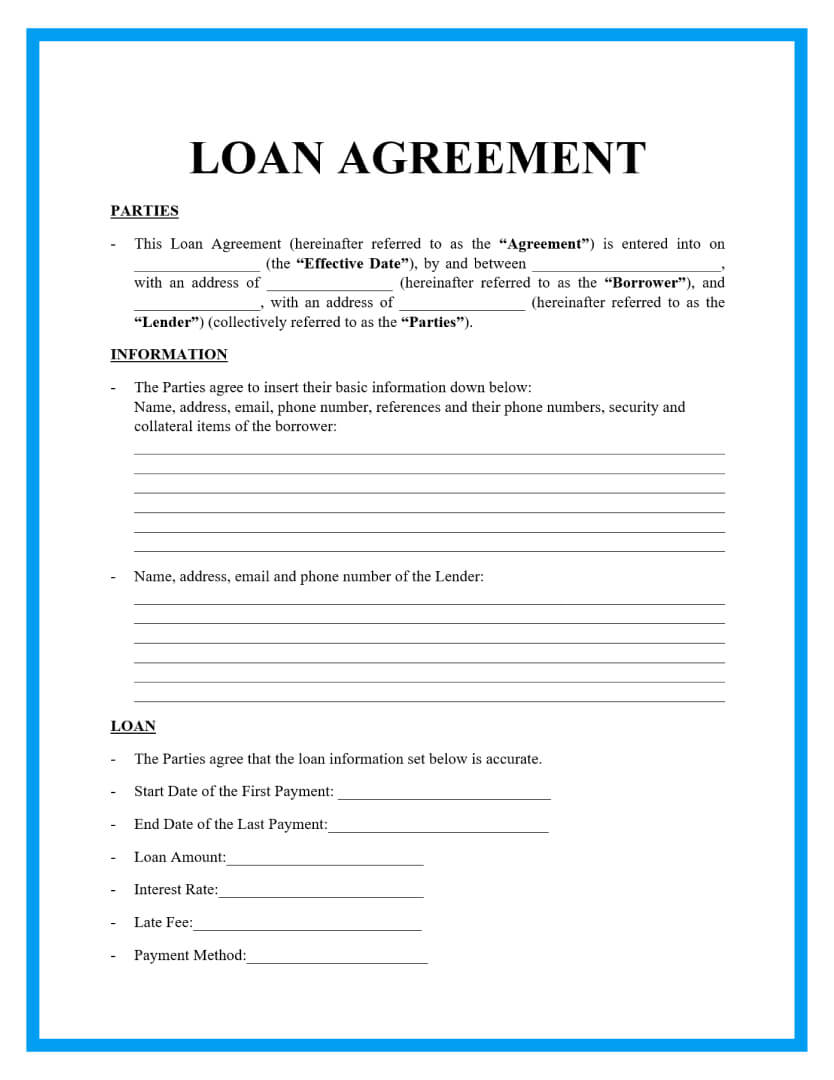 Free Loan Agreement Templates and Sample