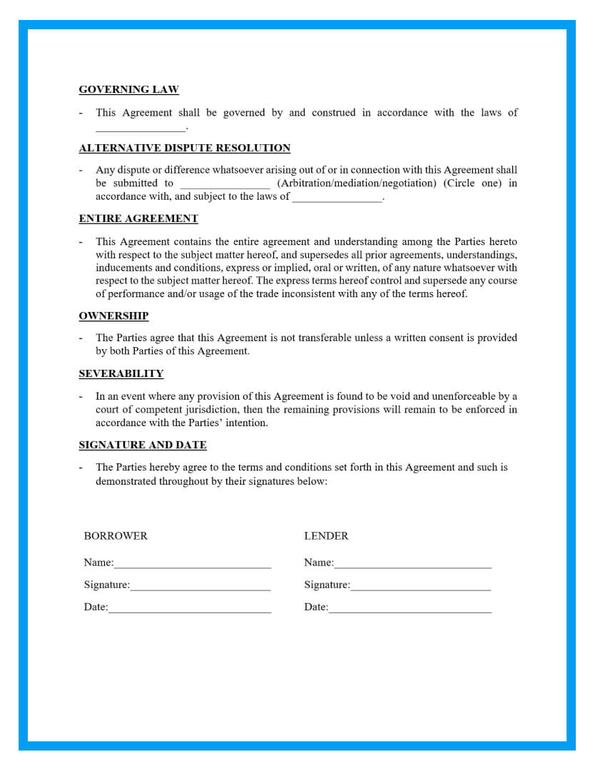 loan agreement template page 3