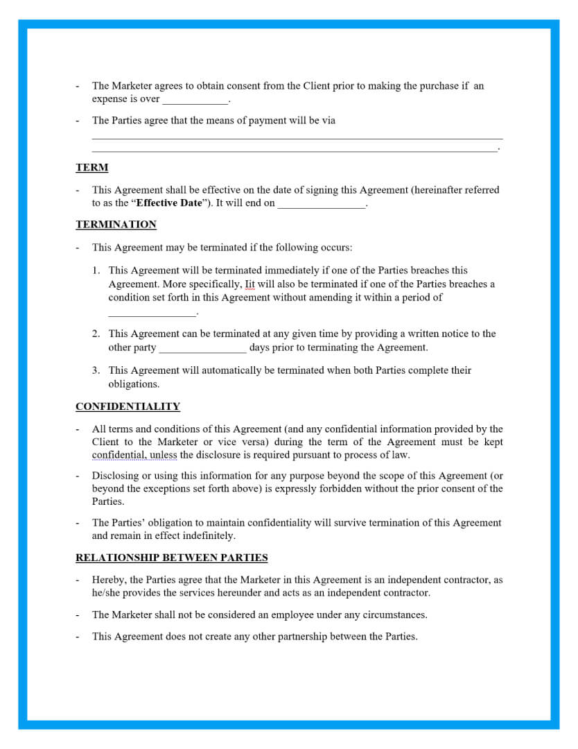 marketing agreement template page 2