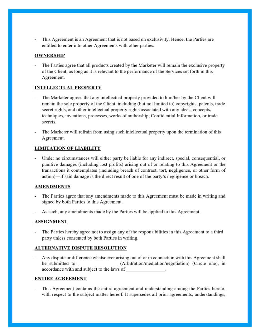 marketing agreement template page 3