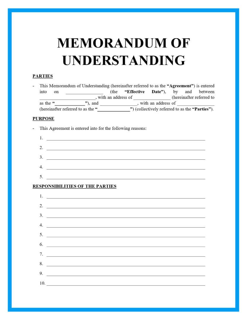 memorandum of understanding template page 1