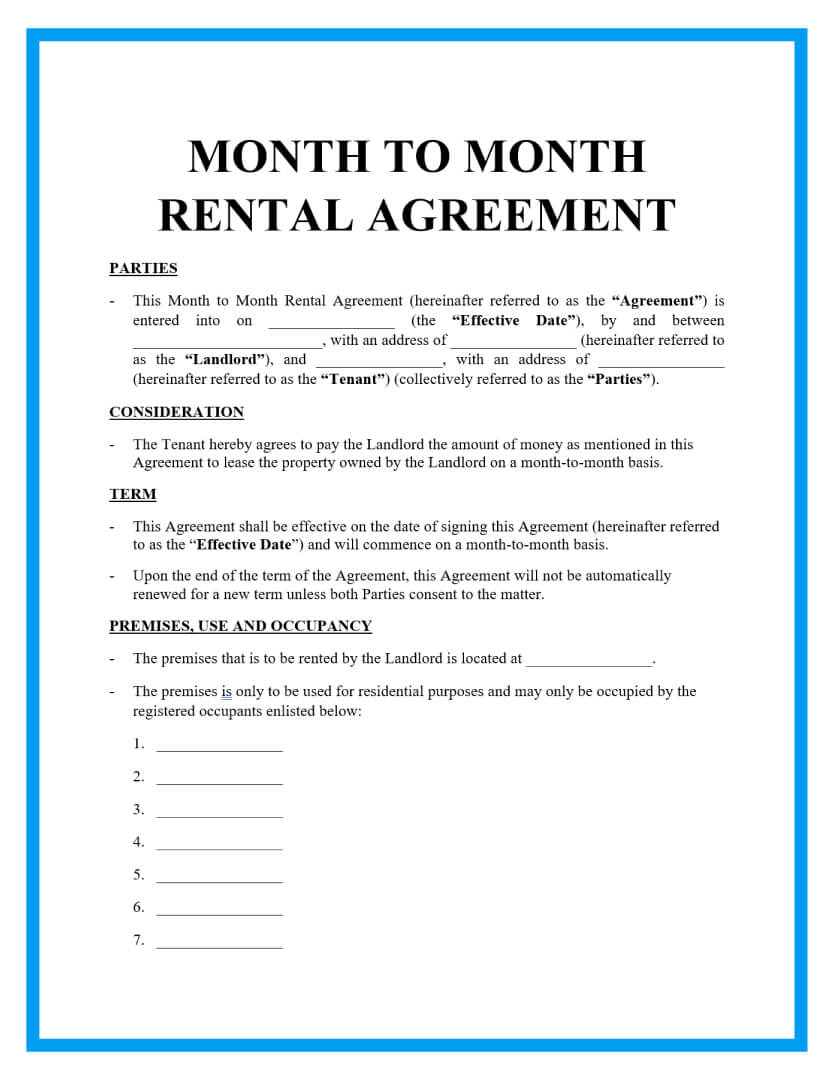 month to month rental agreement template page 1