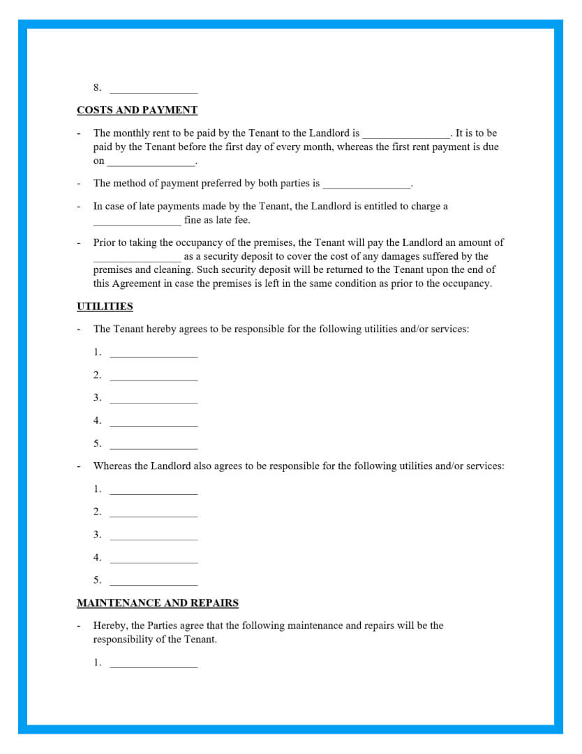 month to month rental agreement template page 2