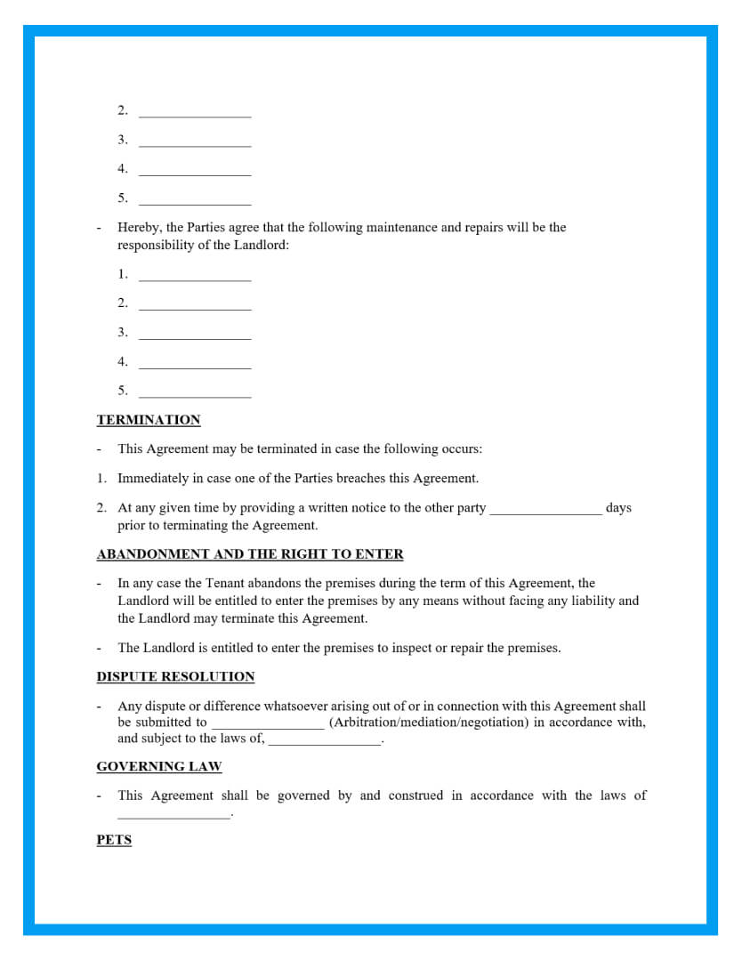 month to month rental agreement template page 3