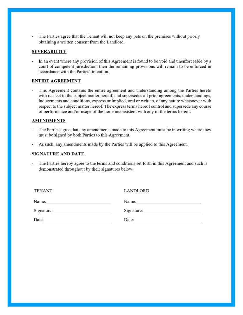 month to month rental agreement template page 4