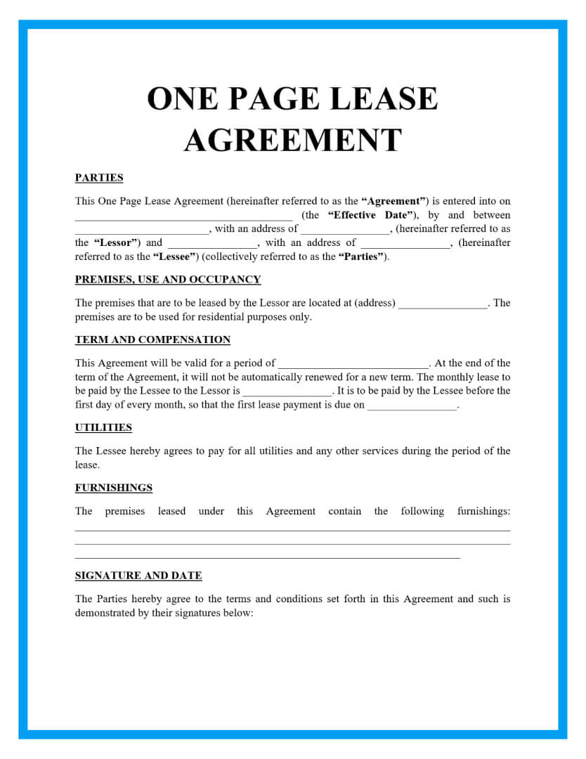 one page lease agreement template page 1