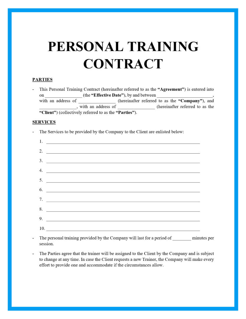 personal training contract template page 1