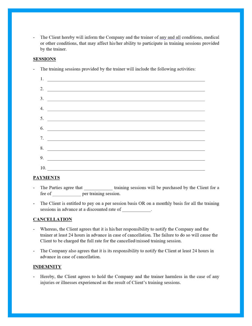 personal training contract template page 2