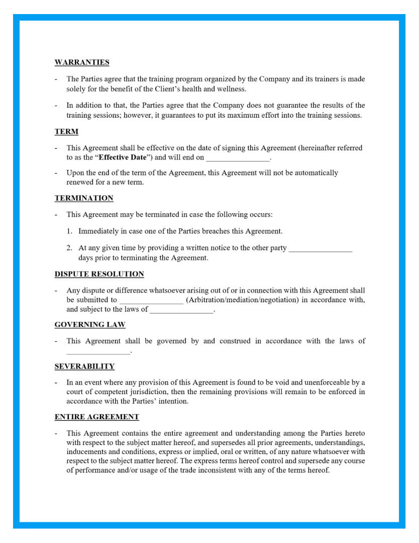 personal training contract template page 3