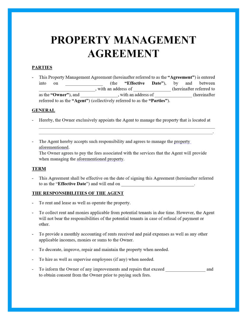property managementagreement template page 1
