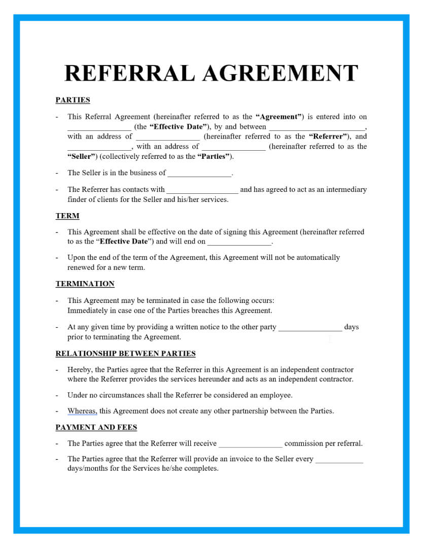 referral agreement template page 1