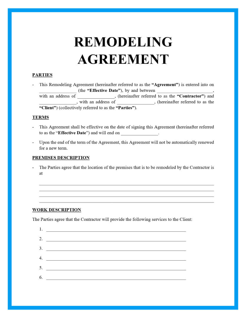 remodeling contract template page 1